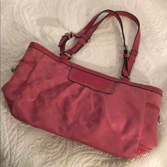 Coach Handbags - Hot Pink Coach Signature Logo Tote